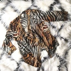 Chico's Tiger Animal Print Shawl Cardigan